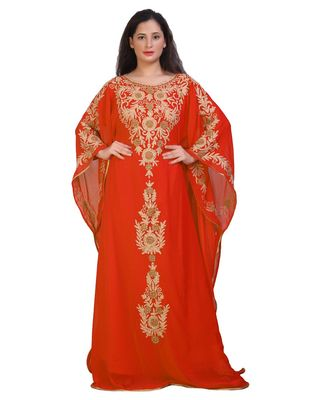 MODERN KHALEEJI MACHINE EMBROIDERY KAFTAN GEORGETTE DRESS