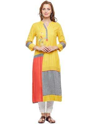 Women Yellow Rayon Embroidered Long Kurta