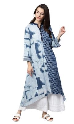 Women Blue Cotton Printed Long Kurta