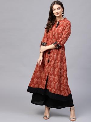 Women Red Cotton Printed Long Kurta