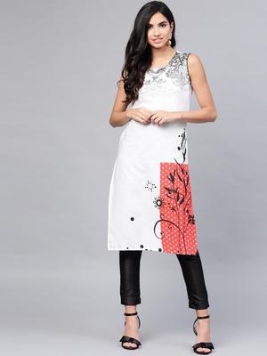 Women White Cotton Flex Printed Long Kurta