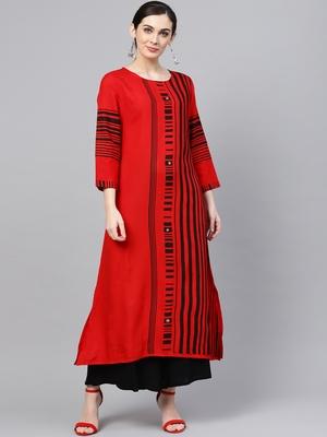 Women Red Rayon Printed Long Kurta
