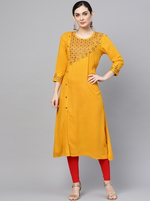 Women Mustard Rayon Slub Embroidered Long Kurta