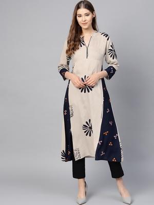 Women Beige & Navy Blue Rayon Embroidered Long Kurta