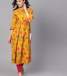 Women Mustard Cotton Printed Anarkali Kurta
