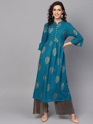 Women Turquoise Blue Cotton Printed Anarkali Kurta