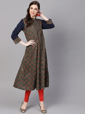 Women Olive Cotton Printed Anarkali Kurta