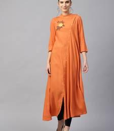 Women Rust Rayon Embroidered Long Kurta
