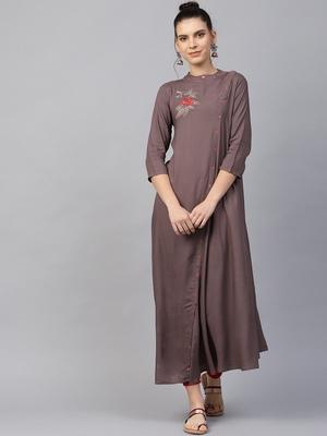 Women Grey Rayon Embroidered Long Kurta