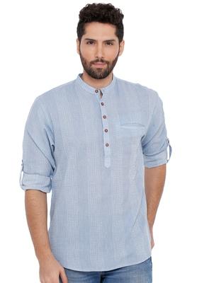 Men'S Cotton Self Textured Sky Blue Colour Roll Up Short Kurta