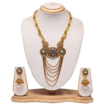 White stone studded golden Bridal necklace set