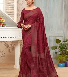 Maroon printed chanderi silk saree with blouse