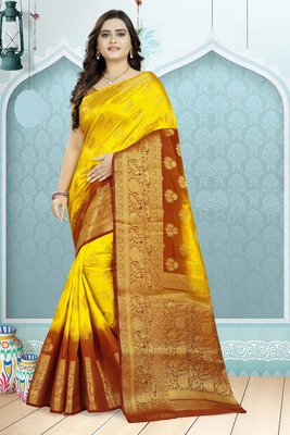 Yellow printed banarasi silk saree with blouse