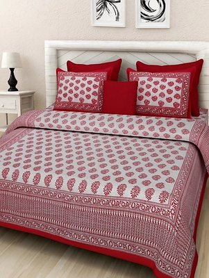 Dreamy Zone Red Printed King Size Bedsheet with 2 Pillow Cover