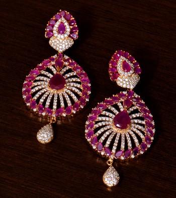 Ruby and AAA CZ Stone Embellished American Diamond Earrings 216ED55