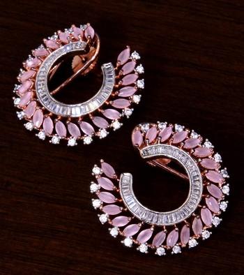 Baby Pink and AAA CZ Embellished American Diamond Earrings 216ED250