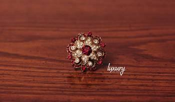 Red Crystals Gemstones RING, Adjustable Handmade, Precious Stone Jewelry
