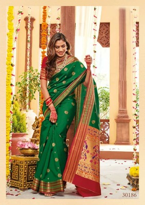 Green color Paithani Silk saree
