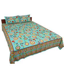 Buy Rajasthani Pure Cotton Flower Print Double Bedsheet Set bed-sheet online