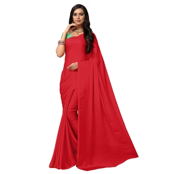 Rose plain satin saree with blouse
