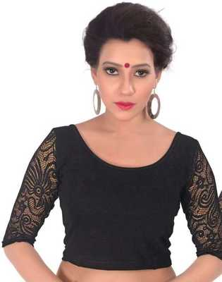 Black Lycra Stretchable Readymade Blouse