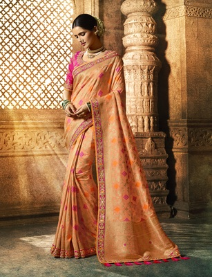 Light Orange Woven Pure Silk Saree With Blouse