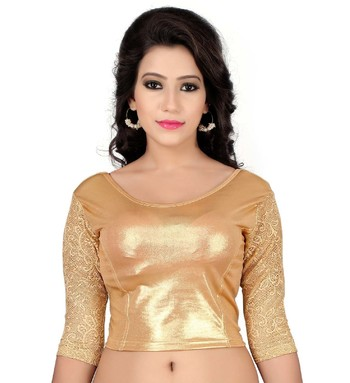 Gold Lycra Stretchable Readymade Blouse Long Sleeve