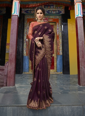 Wine Woven Raw Silk Saree With Blouse