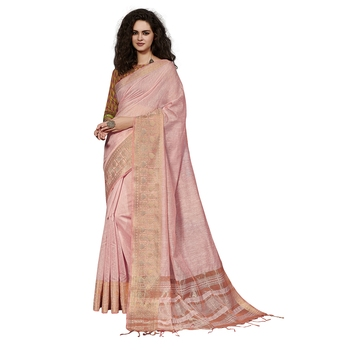 Light pink woven cotton silk saree with blouse