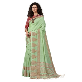 Light green woven cotton silk saree with blouse