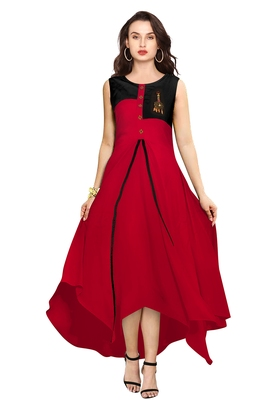 Red printed rayon party-wear-kurtis