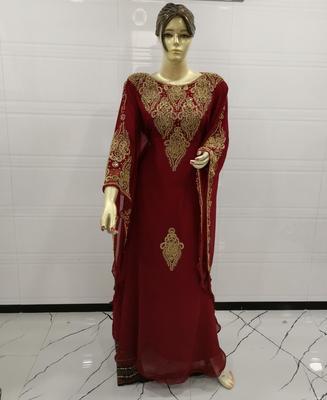 Maroon Embroidered Georgette Islamic Kaftans