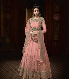 PINK EMBROIDERED NET SALWAR SEMI STITCHED