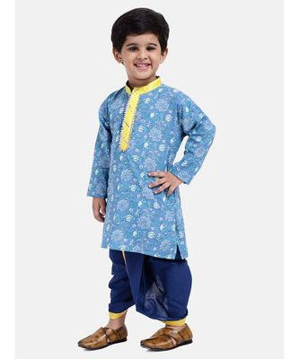Boys Jaipuri Print Cambric Cotton Dhoti Kurta