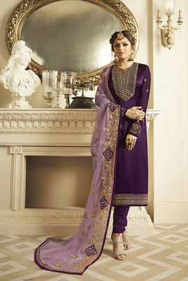 violet embroidered net semi stitched salwar with dupatta