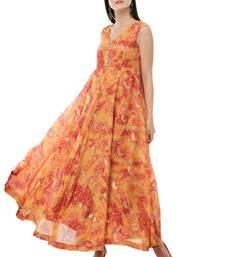 Orange printed polyester kurti