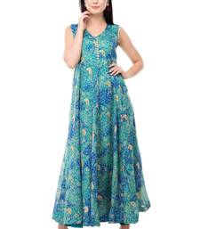 Sky Blue printed polyester kurti