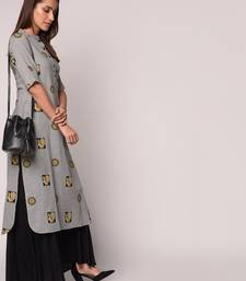Grey printed Cotton kurti