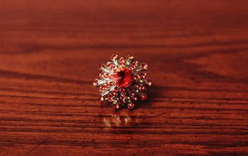 Red Crystals Gemstones RING, Adjustable Handmade, Precious Stone Jewelry