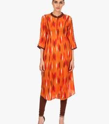 Orange printed viscose kurti