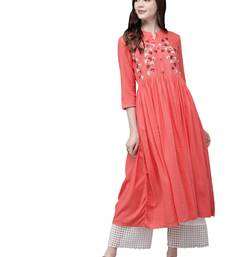 Orange embroidered viscose ethnic-kurtis