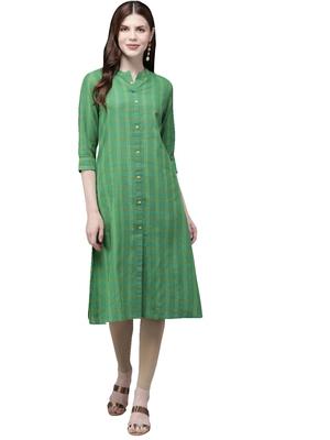 Green hand woven viscose ethnic-kurtis