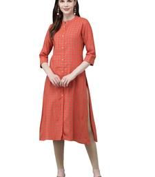 Orange hand woven viscose ethnic-kurtis