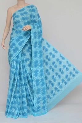 Blue Color Hand Embroidered Kota Cotton Lucknowi Chikankari Saree
