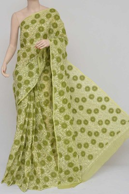 Green Color Hand Embroidered Kota Cotton Lucknowi Chikankari Saree