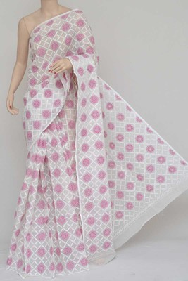 White-Pink Colour Hand Embroidered Multithread Kota Cotton Tepchi Work Lucknowi Chikankari Saree