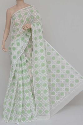 White-Green Color Allover Kota Cotton Tepchi Work Hand Embroidered Lucknowi Chikankari Saree
