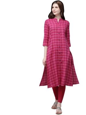 Pink hand woven viscose ethnic-kurtis