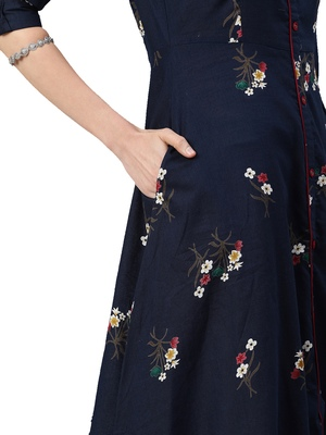 Black printed viscose ethnic-kurtis