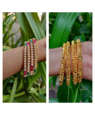 Combo Set Of 4 Pc Gold Plated Bangle And Multicolored Moti Bangle